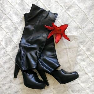 UNIQUE Loeffler Randall Black Leather Tall Boots